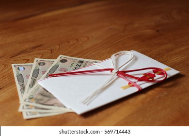 Japanese envelop for gift : wood background /horizontal