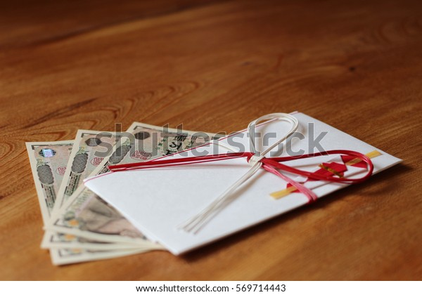 Japanese envelop for gift : wood background /horizontal