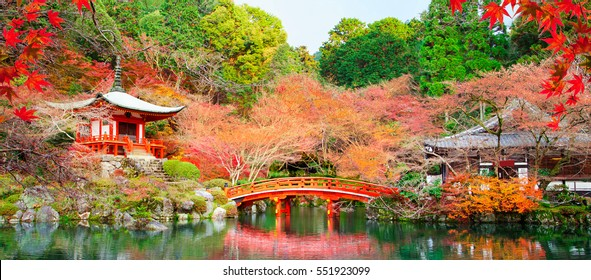 Japanese fall autumn.Kyoto Daigo temple with red leaves and pond.