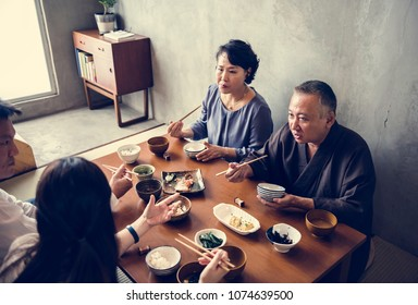 Japanese family eating