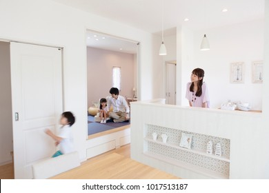 Japanese family relax in the kitchen and a Japanese-style room