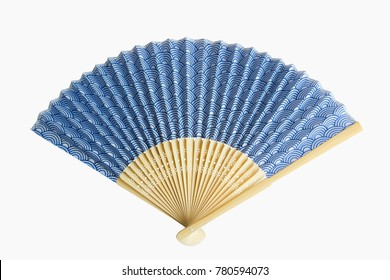 Japanese fan blue color pattern is open, isolated