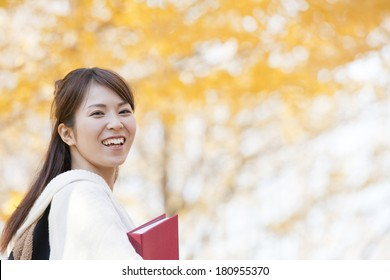 A Japanese female student smiling