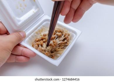 Japanese fermented soybean in foam box