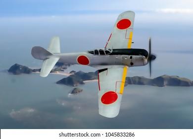 Japanese fighter of WW2 Vintage. Flying past an Island. Original Digital Illustration