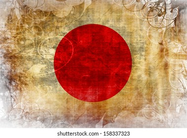 Japanese flag waving in the wind with some spots and stains