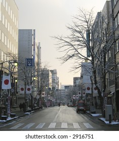 Japanese flags adorn the roadway in Matsumoto city, Tokyo, Japan