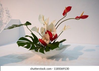 Japanese Floral Arrangement in Beautiful Decorative Pottery