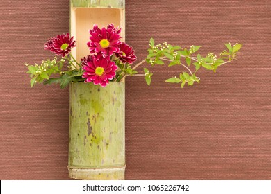 Japanese flower arrangement in bamboo stem for decoration and meditation.