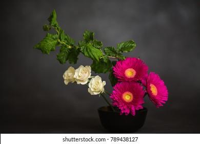 Japanese Flower Arrangement on Grey Backdrop - Ikebana
