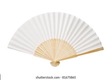 Japanese folding fan isolated on white background