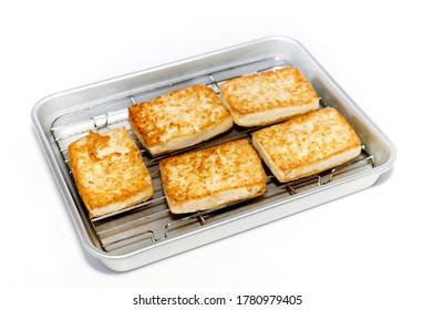 Japanese food, Atsuage, Deep-fried tou in Aluminum tray on white background