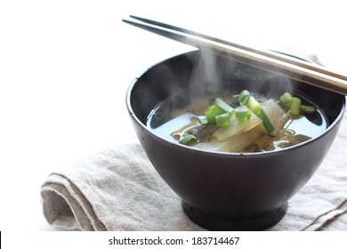 Japanese food, chinese cabbage and algae Miso soup