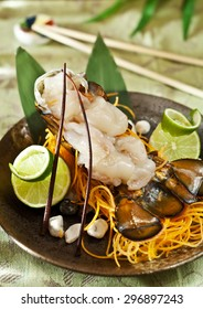 JAPANESE FOOD - close-up shot of slices of fresh spring lobster
