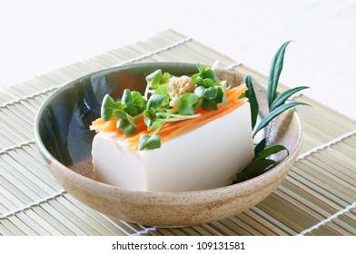Japanese food cold Tofu called Hiyayakko