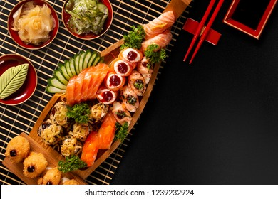 Japanese food combo in black background.  Top View.