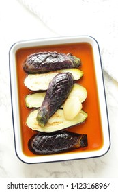 Japanese food, deep fried eggplant and Dashi marinated