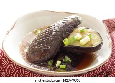 Japanese food, deep fried eggplant for vegan image