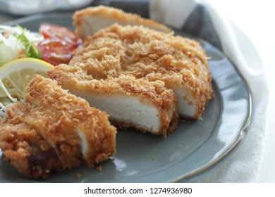 Japanese food, deep fried pork steak Tonkatsu