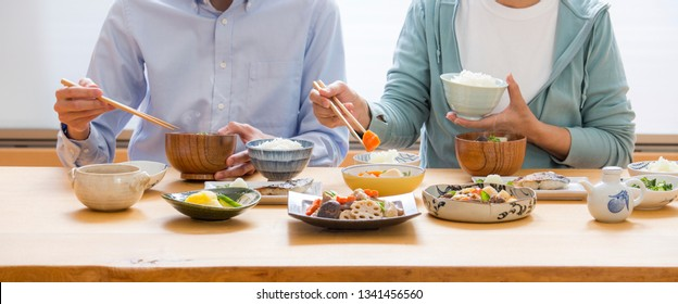 Japanese food, eating, Japanese couple