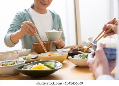Japanese food, eating, Japanese couple
