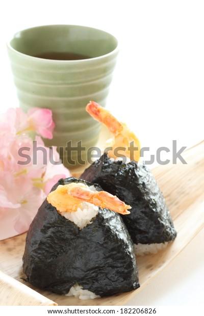 Japanese Food Ebiten Onigiri Deep Fried Stock Photo (Edit