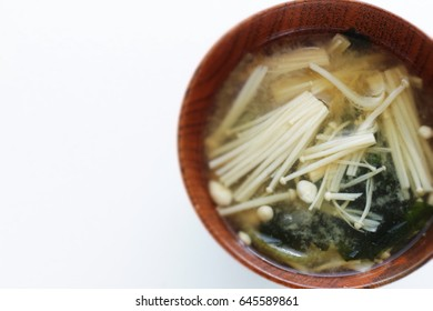 Japanese food, enoki mushroom Miso soup