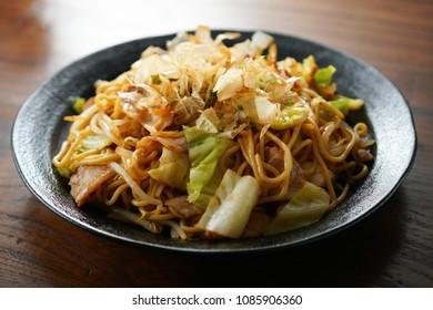 Japanese food. Fried noodles. Yakisoba.