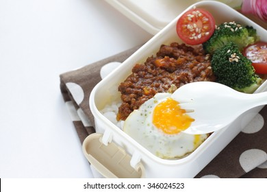 Japanese food, fusion bento keema and quail egg packed lunch