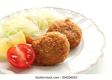 Japanese food, fusion mince croquette with cabbage salad