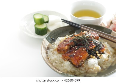 Japanese food, grilled eel on rice with green tea for regional food image Hitsumabushi