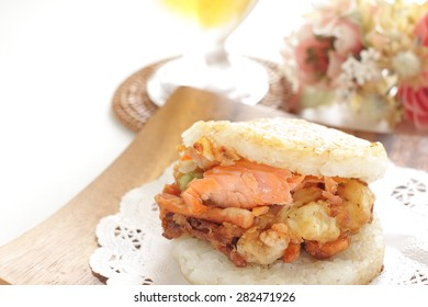 Japanese food, grilled salmon in Rice burger