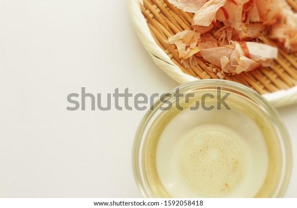 Japanese food ingredient, Katsuobushi fried fish thick slices and Dashi, broth