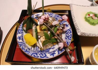 Japanese food. Kaiseki Ryori. Forefront platter.
