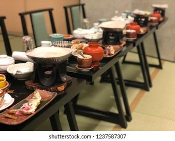 "Japanese food ""Kaiseki set""dinner in ryokan ""Japanese style Hotel""."