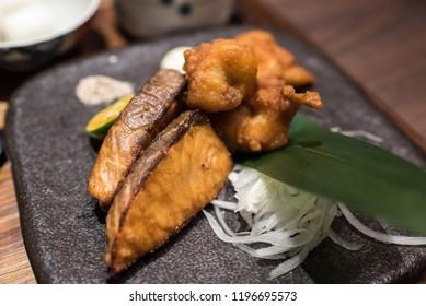Japanese food : karaage, grilled salmon
