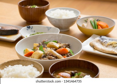 Japanese food, meat and potatoes