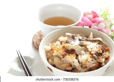 Japanese food, Meitake mushroom and chicken rice Takikomegohan