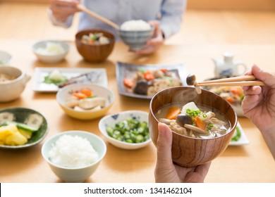 Japanese food, miso soup, pork soup