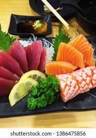 Japanese food. Mix of Japanese food on restaurant table.