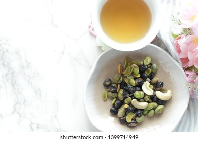 Japanese food mixed edamame and black bean for healthy food image