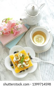 Japanese food mixed edamame on oranged open sandwich