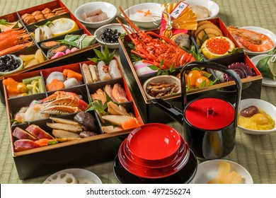 Japanese food of the New Year dishes tradition OSECHI (Chinese character in an image means New Year's Greetings.)