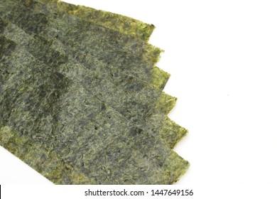 Japanese food, Nori dry seaweed sheets on white background