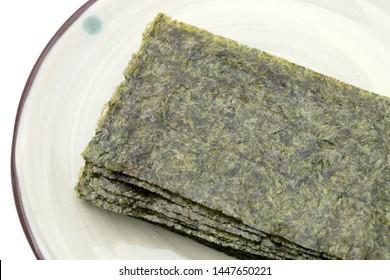 Japanese food, Nori dry seaweed sheets on plate
