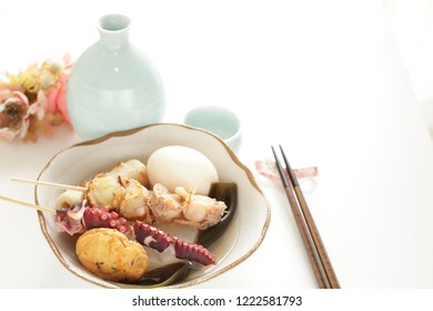 Japanese food, Oden simmered seafood and fish cake with kambo seaweed