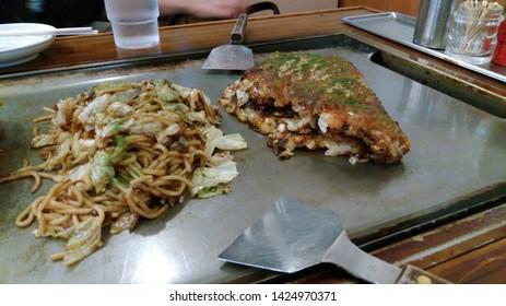 Japanese food Okonomiyaki and Yakisoba
