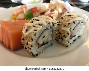 japanese food on white plate,sushi.