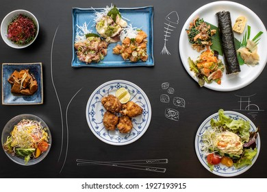 Japanese food over the table with illustrations of Japan food