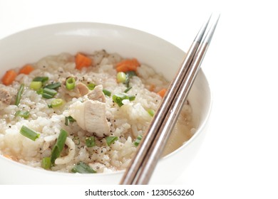 Japanese food, rice in pork and hot pot soup calls Zosui